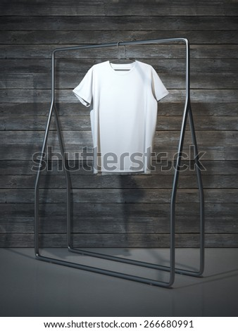 Blank white t-shirt. 3d rendering - stock photo