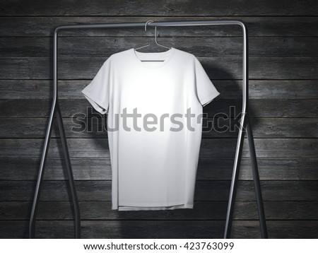 Blank white t-shirt on metal hanger. 3d rendering - stock photo
