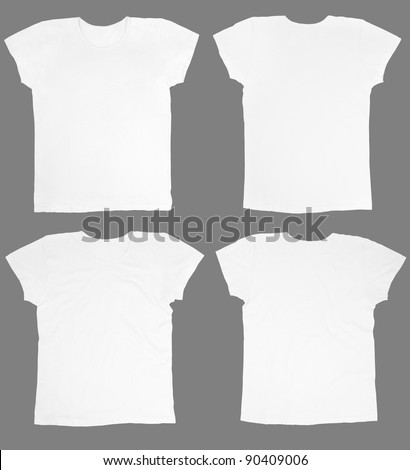 Blank white t-shirts front and back, ironed and wrinkled isolated on white, clipping path included - stock photo