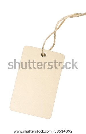 Blank white tag with cotton string isolated on white background with clipping path - stock photo