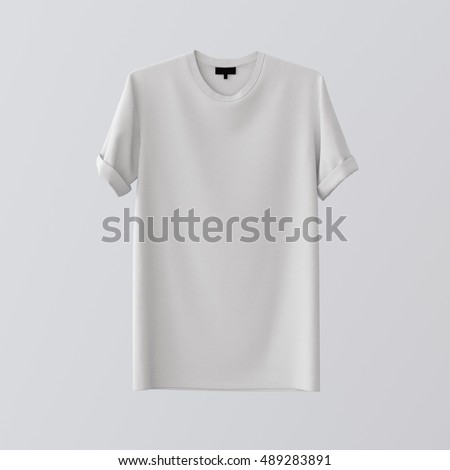 Blank White Textile Tshirt Isolated Center Gray Empty Background.Mockup Highly Detailed Texture Materials.Clear Label Space for Business Message. Square.Front Side. 3D rendering