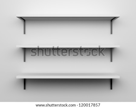 Blank, white, three high quality shelves installed on the wall upon where you can put, set, show anything with light from top.