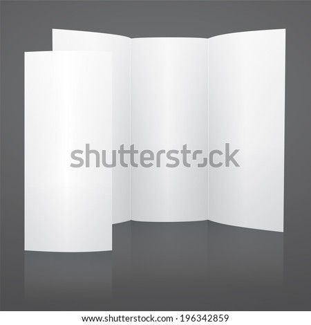 Blank White Tri Fold Brochure Template. Rasterized Version.
