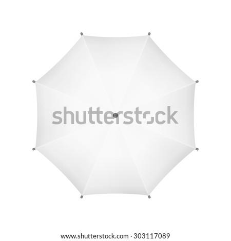 Blank White Umbrella. Top View. - stock photo