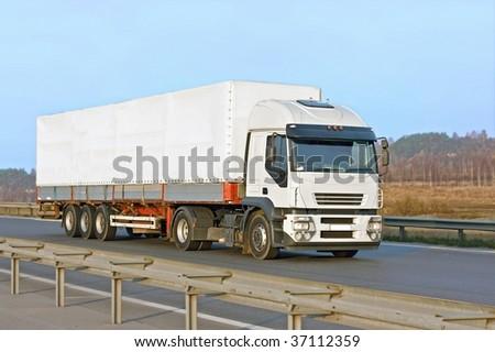 blank white van truck - stock photo
