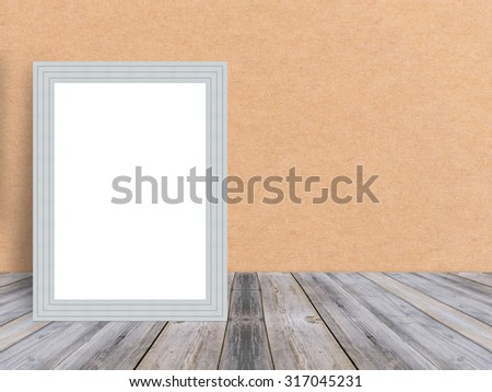 Blank white wooden photo frame at tropical plank wooden floor and wall, Template mock up for adding your content,leave side space for display of product - stock photo