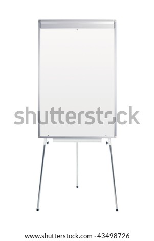 Blank whiteboard and flip chart isolated on white - insert own message