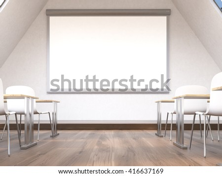 Blank whiteboard in classroom interior. Mock up, 3D Rendering