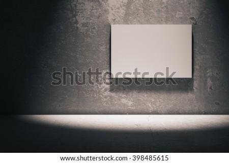Blank whiteboard in dark concrete room. Mock up, 3D Rendering - stock photo