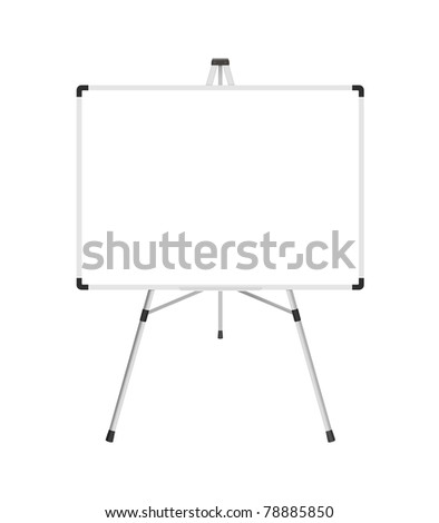 Blank whiteboard with stand isolated on a white background