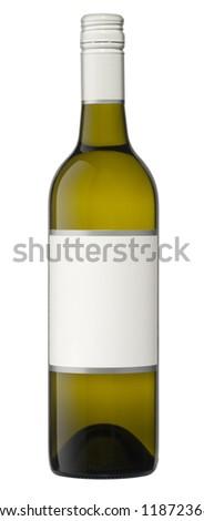 Blank wine bottle isolated on white - stock photo