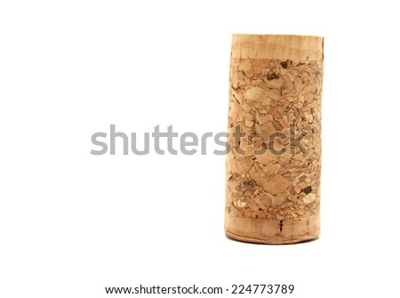 Blank wine cork isolated on white background close up - stock photo