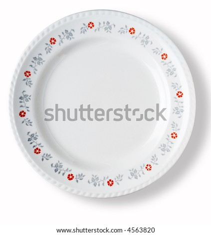 blank with floral border decoration white dish over white background with shadow - stock photo