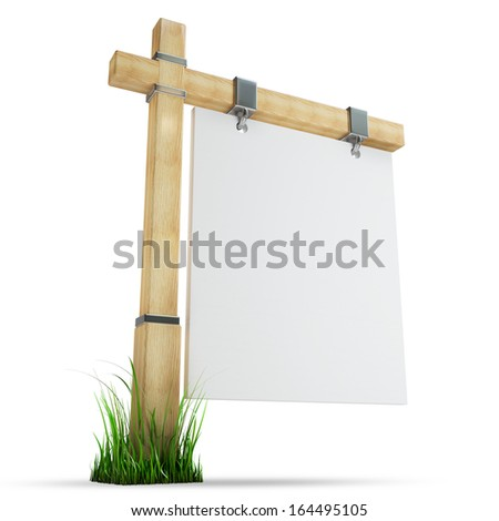 blank wooden advertising billboard isolated on white background High resolution 3d  - stock photo