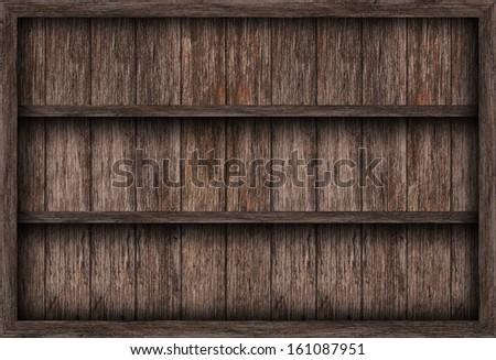 Blank wooden bookshelf  - stock photo