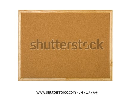 Blank wooden corkboard isolated over white background - stock photo