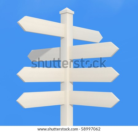 blank wooden directional sign post - rendering - stock photo