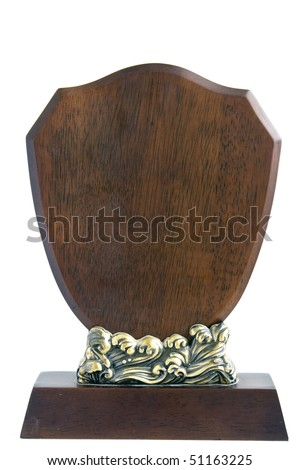 Blank wooden plaque isolated - stock photo