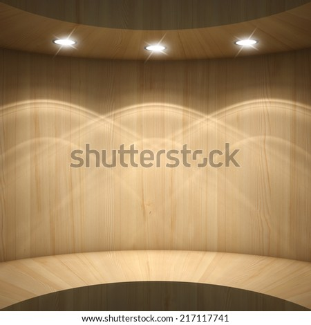 Blank wooden showcase - stock photo