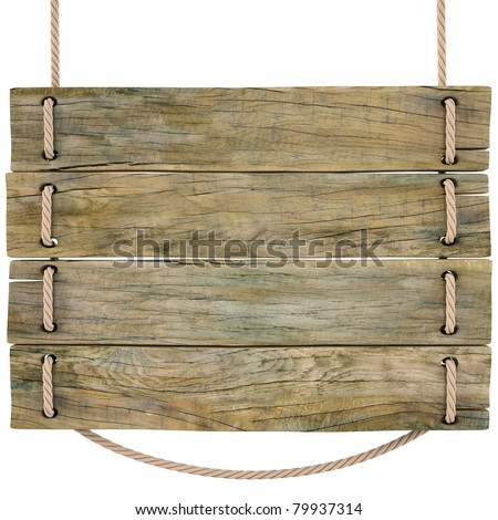 blank wooden sign hanging on a rope. isolated on white. with clipping path. - stock photo