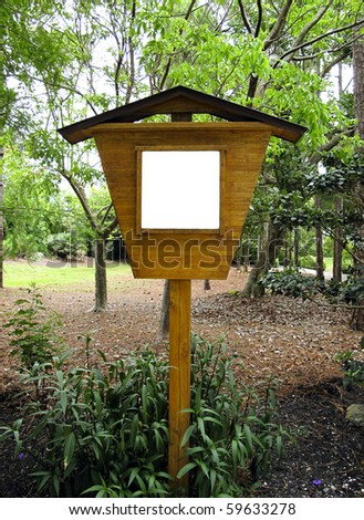 Blank wooden sign in a Japanese Garden