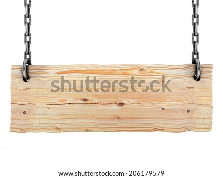 Blank wooden sign isolated on a white background - stock photo
