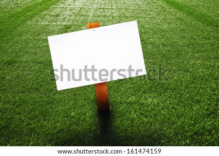 Blank wooden sign on green lawn for your message.
