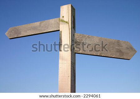 Blank wooden sign, ready for text. - stock photo