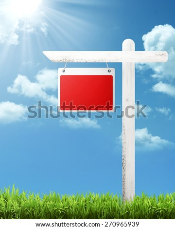 Blank wooden sign with blue sky background. You can put your text on the board - stock photo