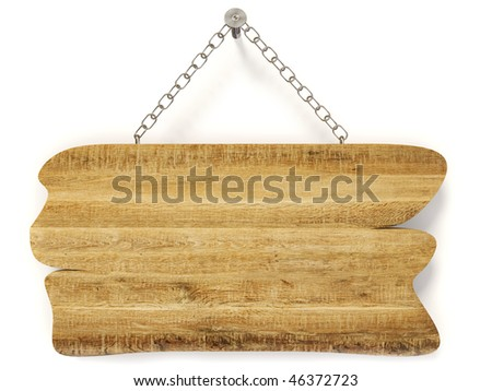 Blank wooden signboard on white - stock photo