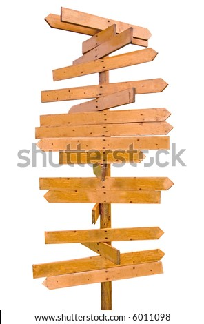 blank wooden signpost with many arrows - stock photo