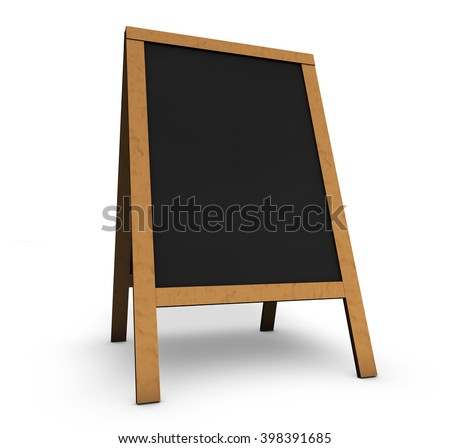 Blank wooden vintage restaurant chalkboard or board with empty black space for menu, daily food or event program 3D illustration on white background.
