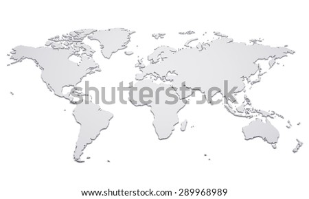 Blank world map with raised edges isolated on white - stock photo