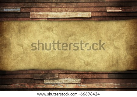 blank wrinkled background with space for your data and old wooden frame stripe