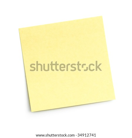blank yellow adhesive note on white background with shadow - stock photo