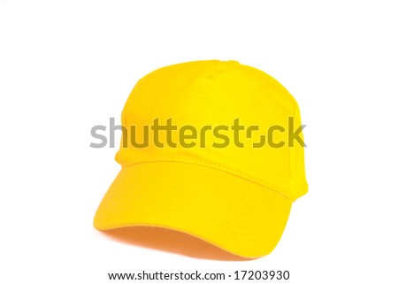 Blank Yellow Baseball Cap on white ground - stock photo