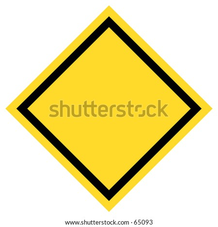 Blank yellow/black traffic sign.  The sign has sharp edges