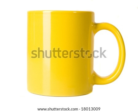blank yellow cup on white ground