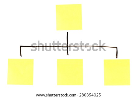 Blank yellow flowchart stickers on a whiteboard - stock photo