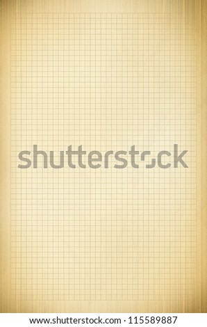 Blank yellow / gold grid paper sheet background or textured