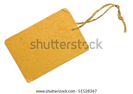 Blank Yellow Grunge Cardboard Sale Tag Label, Isolated Closeup Macro, Rustic Background - stock photo