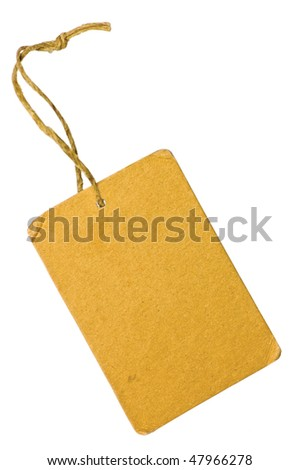 Blank Yellow Grunge Cardboard Sale Tag Label, Vertical, Isolated Rustic Background - stock photo