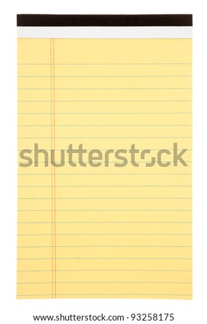 Blank yellow lined notepad isolated on white