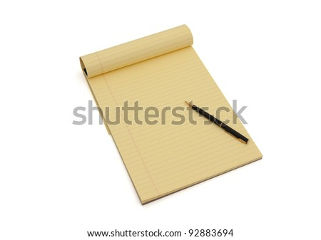 Blank yellow lined notepad with copy-space and a pen, Writing your ideas