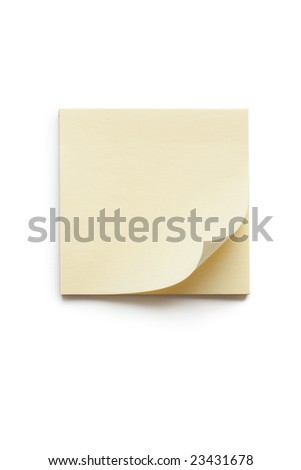 blank yellow memo paper isolated on white