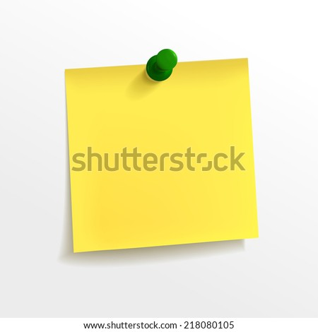 blank yellow note paper with pin on white background - stock photo
