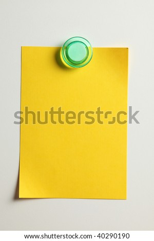 blank yellow note with magnet on the bridge - stock photo