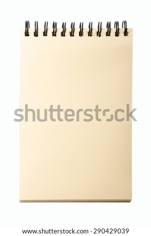 Blank yellow notebook is isolated on white background. - stock photo