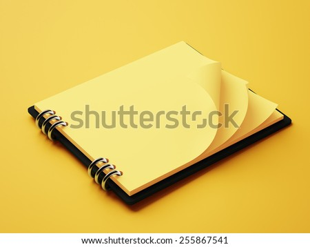 Blank Yellow Paper Notepad isolated on yellow background