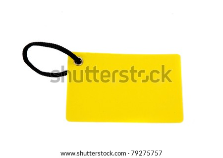blank yellow paper tag isolated on white background - stock photo